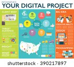 big infographics in flat style. ... | Shutterstock .eps vector #390217897