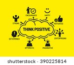 think positive. chart with...   Shutterstock .eps vector #390225814