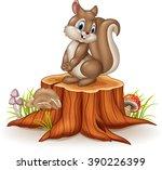 cartoon funny squirrel on tree... | Shutterstock .eps vector #390226399