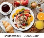 healthy breakfast ingredients ... | Shutterstock . vector #390232384