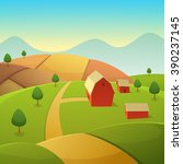 mountain countryside landscape... | Shutterstock .eps vector #390237145