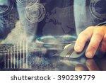 closeup of business man's hand... | Shutterstock . vector #390239779