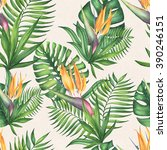 watercolor exotic tropical... | Shutterstock . vector #390246151