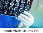 doctor attentively examines the ... | Shutterstock . vector #390249514