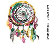 dream catcher with ornament.... | Shutterstock .eps vector #390255595