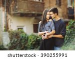man and woman or young couple... | Shutterstock . vector #390255991