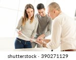 young couple consult with real... | Shutterstock . vector #390271129