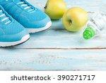 sport shoes  apples  bottle of... | Shutterstock . vector #390271717