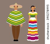 mexican man and woman in... | Shutterstock .eps vector #390278995