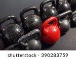 different sizes of kettlebells... | Shutterstock . vector #390283759