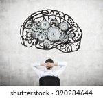 businessman sitting on chair... | Shutterstock . vector #390284644