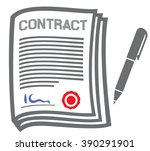 contract flat icon   Shutterstock .eps vector #390291901