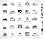 mountain icons set isolated on... | Shutterstock .eps vector #390294391