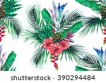 tropical flowers  palm leaves ... | Shutterstock .eps vector #390294484