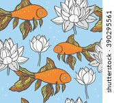 the pattern with goldfish and... | Shutterstock .eps vector #390295561