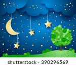 surreal background with moon...   Shutterstock .eps vector #390296569