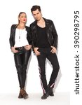 young sexy couple in leather... | Shutterstock . vector #390298795