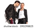 young hot rock and roll couple  ... | Shutterstock . vector #390298825