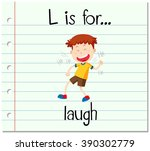 flashcard letter l is for laugh ...   Shutterstock .eps vector #390302779
