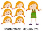 little girl with different... | Shutterstock .eps vector #390302791