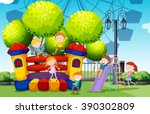 children playing at the park... | Shutterstock .eps vector #390302809