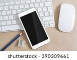 workplace with modern mobile... | Shutterstock . vector #390309661