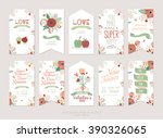 set of floral save the date... | Shutterstock .eps vector #390326065