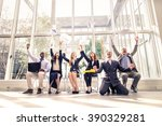 business team exulting   happy... | Shutterstock . vector #390329281
