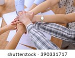 business people joining hands... | Shutterstock . vector #390331717