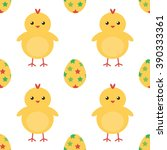 easter eggs and cute baby... | Shutterstock .eps vector #390333361