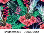 tropical flowers  palm leaves ... | Shutterstock .eps vector #390339055