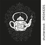 vintage cafe menu with a teapot ... | Shutterstock .eps vector #390343201