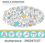 donation and volunteer work... | Shutterstock .eps vector #390347137