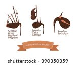 european bagpipes set  vector... | Shutterstock .eps vector #390350359