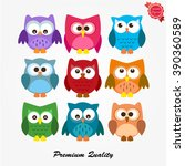 set of funny colored owls owl... | Shutterstock .eps vector #390360589