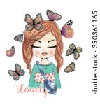 cute girl with butterfly | Shutterstock .eps vector #390361165