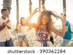 group of friends making party... | Shutterstock . vector #390362284