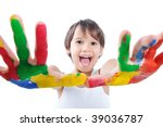kid painting and playing with... | Shutterstock . vector #39036787