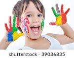 happy kid with colors on hands | Shutterstock . vector #39036835