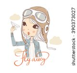 cute girl with plane | Shutterstock .eps vector #390373027