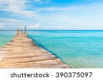 living is easy jetty to the... | Shutterstock . vector #390375097