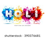 holi spring festival of colors... | Shutterstock .eps vector #390376681