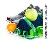 fitness concept. weight loss...   Shutterstock . vector #390382639