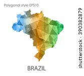 brazil map in geometric... | Shutterstock .eps vector #390382879