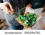 Bowl Of Fresh Green Salad In...