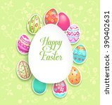 spring easter holiday with eggs ... | Shutterstock .eps vector #390402631