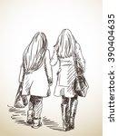 Sketch Of Two Walking Woman...