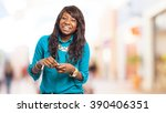 cool black woman smiling | Shutterstock . vector #390406351