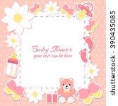 baby shower girl  invitation... | Shutterstock .eps vector #390435085