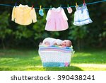 newborn baby on a pile of clean ... | Shutterstock . vector #390438241